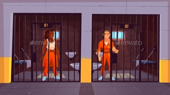 Prisoners in Orange Jumpsuits in Prison Jail - People Characters