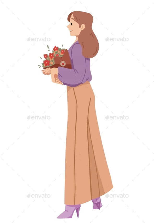 Woman Holding a Bouquet of Flowers - People Characters