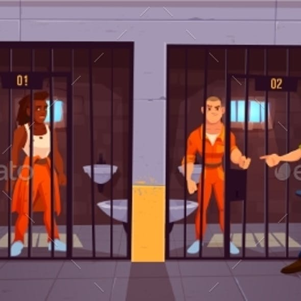Prisoners in Prison Jail and Policeman