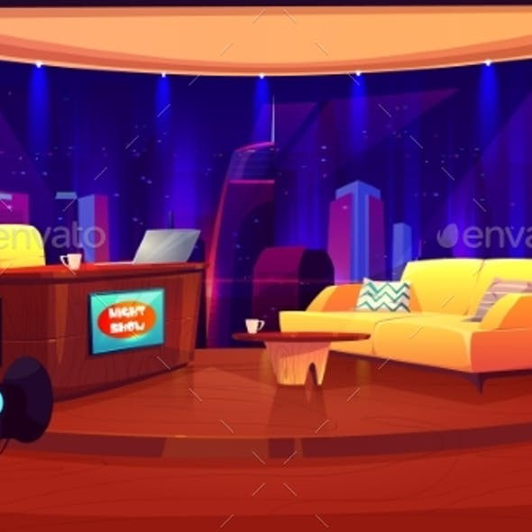 Television Studio with Camera Broadcasting Room