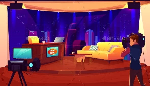 Television Studio with Camera Broadcasting Room - Media Technology