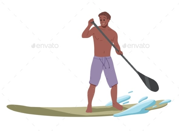 Man Surfing Riding on the Water - Sports/Activity Conceptual