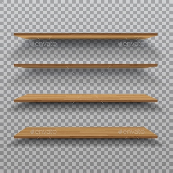 Vector Empty Wooden Shelf Isolated - Backgrounds Decorative