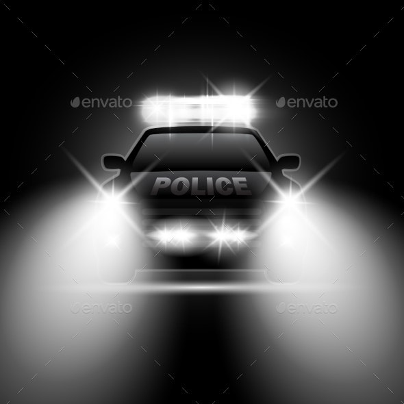 Police Car with Headlights Flares and Siren - Man-made Objects Objects