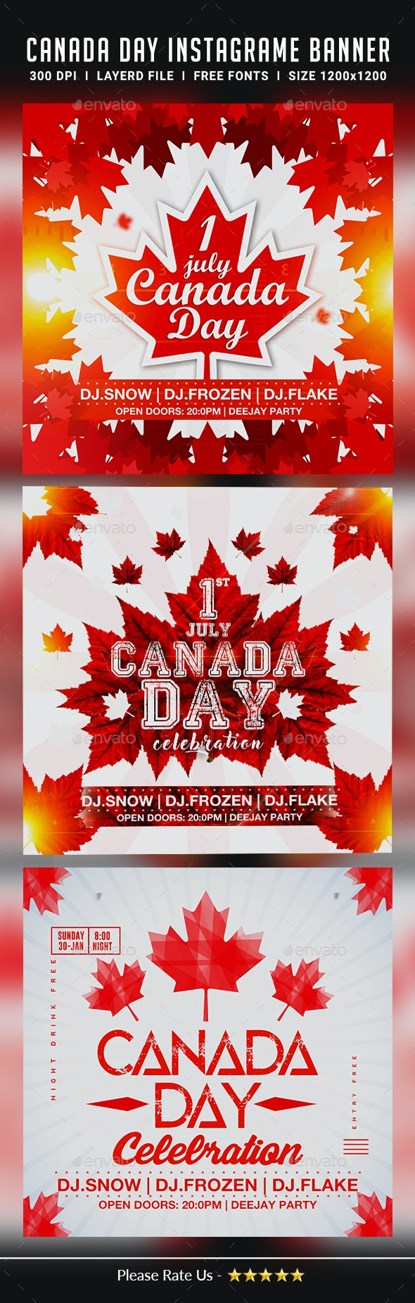 Canada Day Instagram Banners - Banners & Ads Web Elements