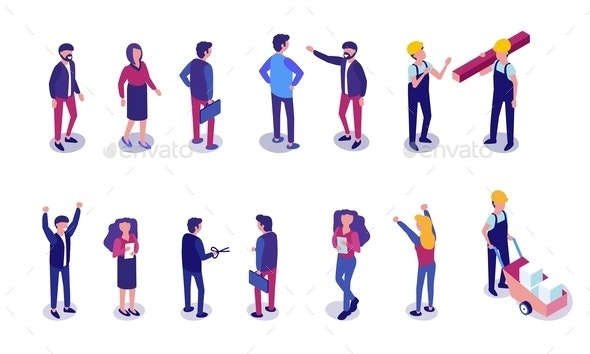 Flat Set People Different Professions Isometric - People Characters