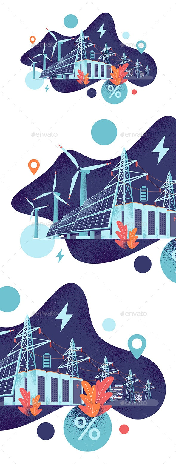 Renewable Solar and Wind Energy Battery Storage Smart Grid System with Power Lines - Miscellaneous Conceptual