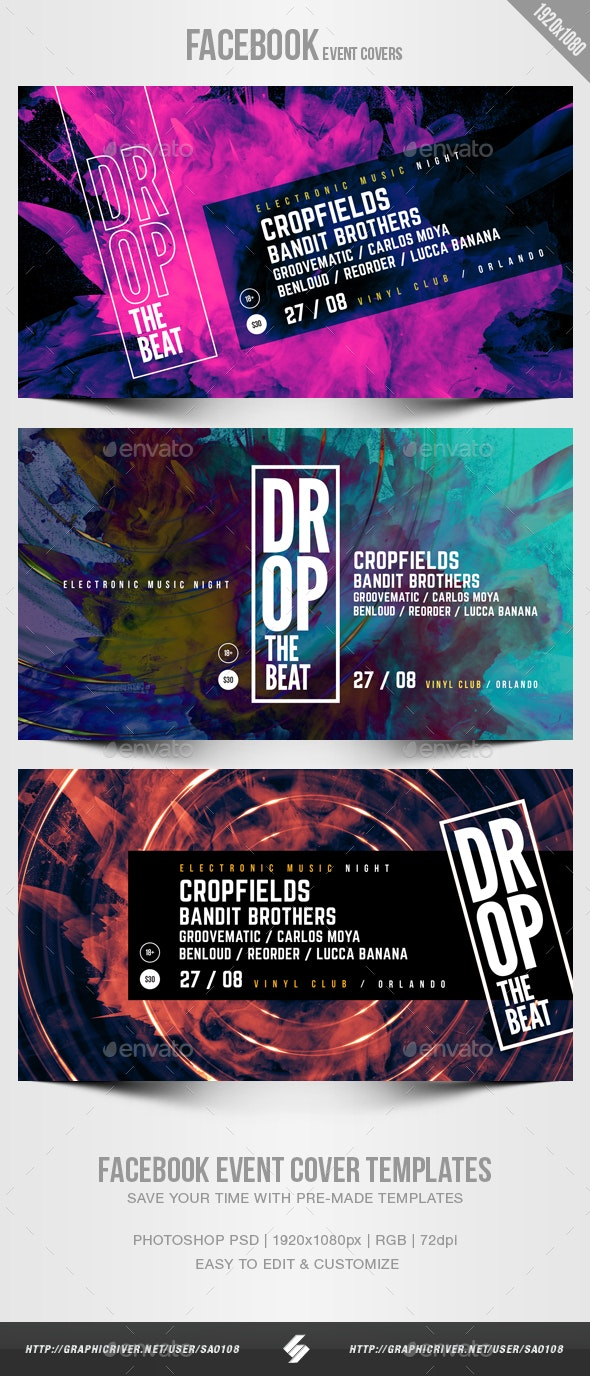 Electronic Music Party 11 - Facebook Event Cover Templates - Social Media Web Elements