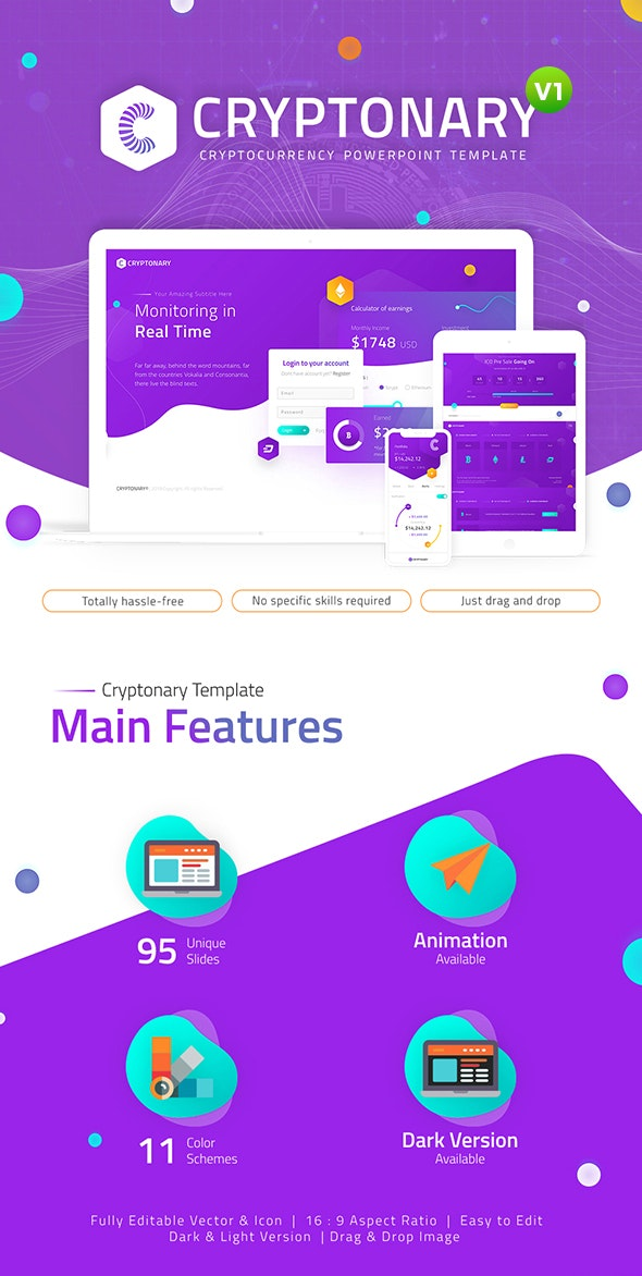 Cryptonary Cryptocurrency PowerPoint Template - PowerPoint Templates Presentation Templates