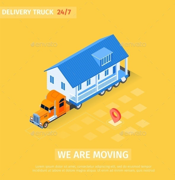 Delivery Truck is Written we are Moving Cartoon - Miscellaneous Vectors