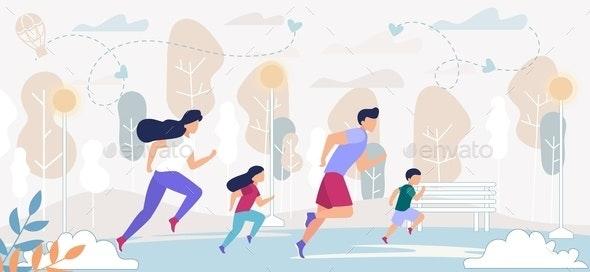 Happy Family Outdoors Sport Activity - Sports/Activity Conceptual