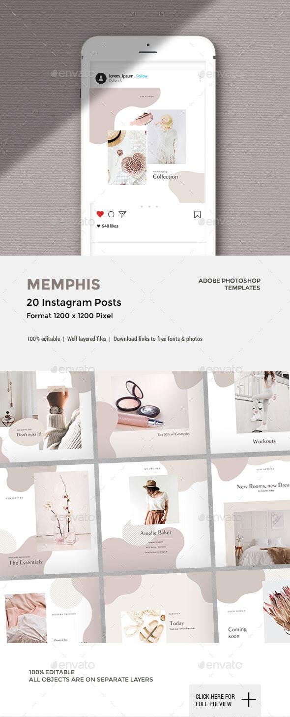20 Memphis Instagram Posts - Social Media Web Elements