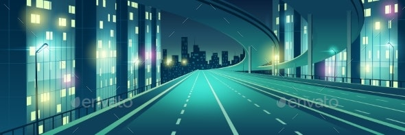 Night City Illuminated Highway Cartoon Vector - Buildings Objects