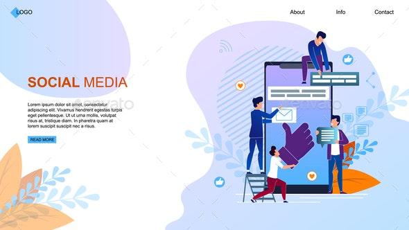 Vector Illustration Social Media Landing Page - Media Technology