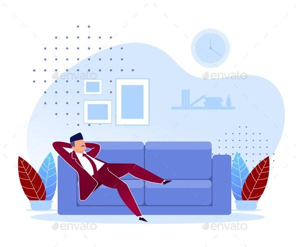 Flat Procrastination Wrong Priorities Cartoon - People Characters