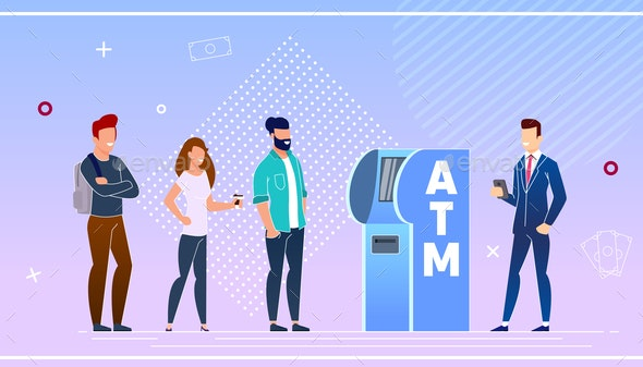 Bank Customers Using an ATM Vector Illustration - People Characters