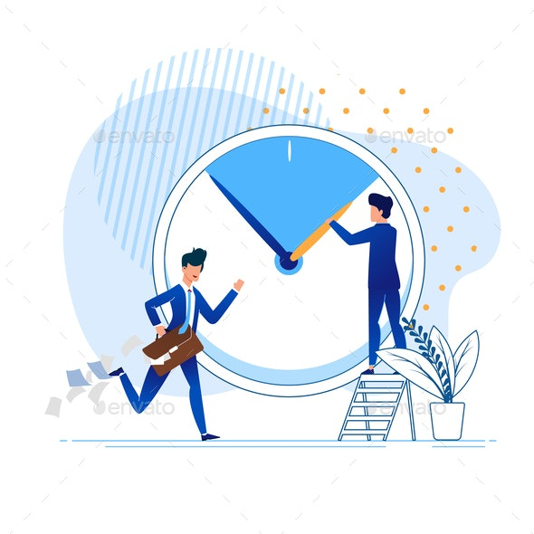 Flat Office Situation Rush Vector Illustration - Concepts Business