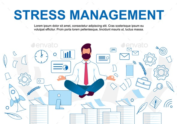 Vector Illustration Stress Management Cartoon - Concepts Business