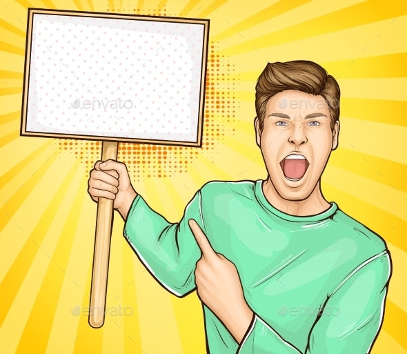 Screaming Man with Banner on Stick Vector - People Characters