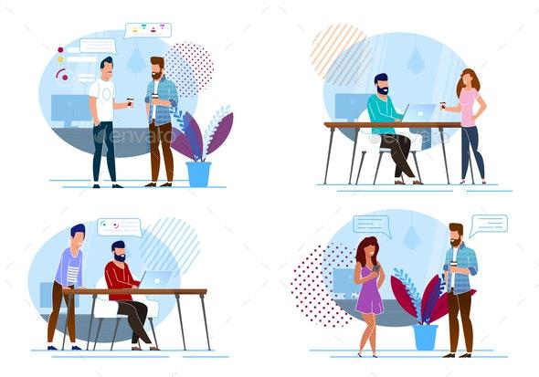 Set Favorite Coffee Break Vector Illustration - Concepts Business
