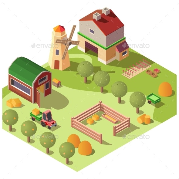 Farm Farmyard with Outbuildings Isometric Vector - Buildings Objects