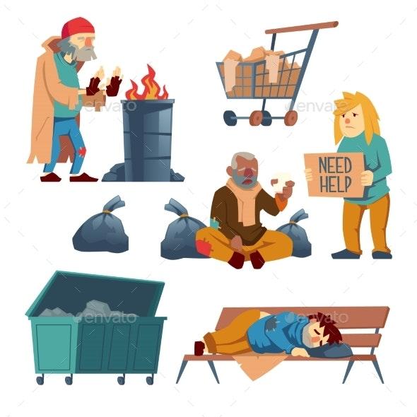 Homeless Beggars Cartoon Vector Characters Set - People Characters