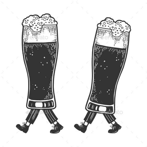 Beer Glass Cups Walks on its Feet Sketch - Miscellaneous Vectors