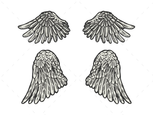 Bird Angel Wings Set Sketch Engraving Vector - Miscellaneous Vectors