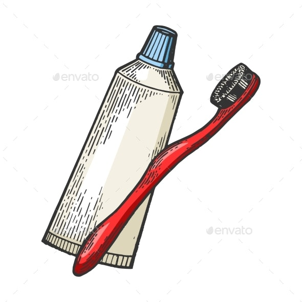 Toothbrush and Toothpaste Engraving Vector - Man-made Objects Objects