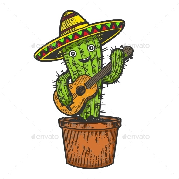 Cactus Guitar and Sombrero Sketch Engraving Vector - Miscellaneous Characters