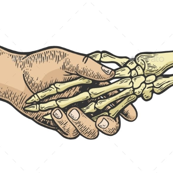 Death Skeleton Handshake Engraving Vector