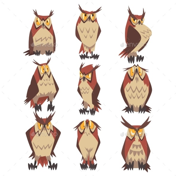 Collection of Great Horned Owls Birds Characters - Animals Characters