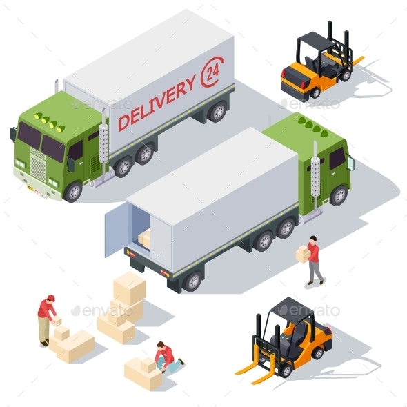 Delivery Service Isometric Vector Elements - Services Commercial / Shopping