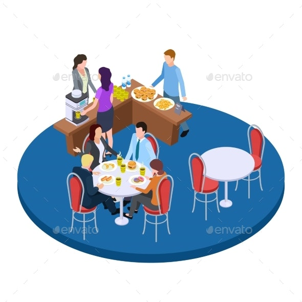 Business People on a Coffee Break Isometric Vector - People Characters