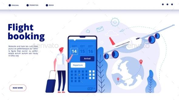 Flight Booking Online - Travel Conceptual