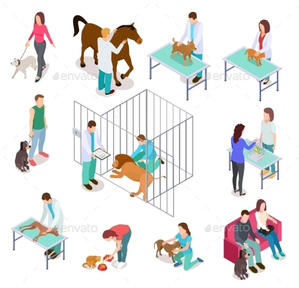 Isometric Veterinary Animals Shelter - Animals Characters