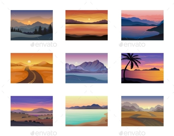 Set of Night and Evening Landscapes at Sunset - Landscapes Nature