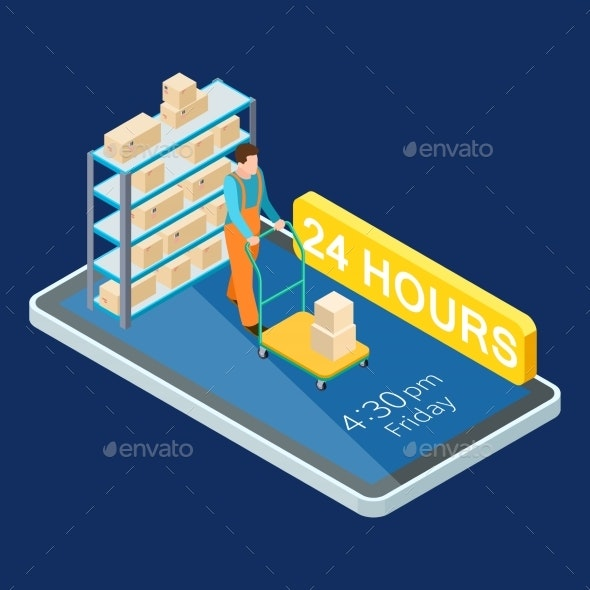 24 Hours Delivery Online Services Isometric Vector - Services Commercial / Shopping