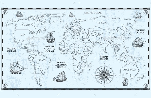 Vector Antique World Map with Countries Boundaries - Miscellaneous Vectors