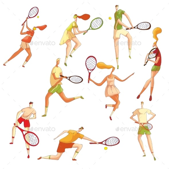 Set of Images of Tennis Players - Sports/Activity Conceptual