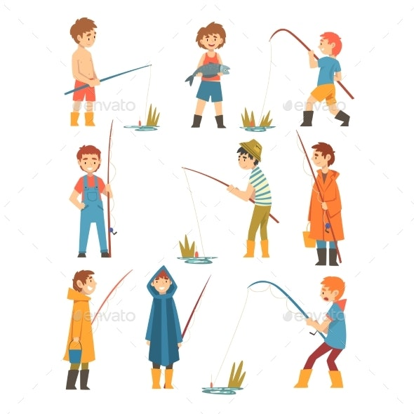 Boys with Fishing Rods Set - Sports/Activity Conceptual