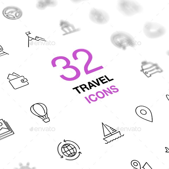 Set of Travel Icons Isolated on a White Background