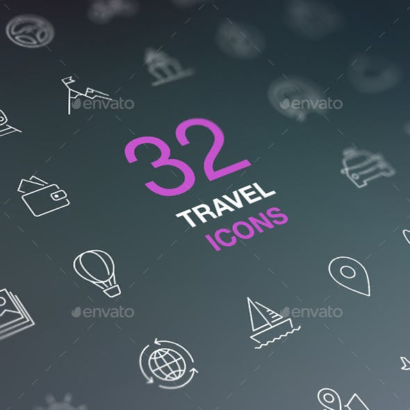 Travel Line Icons for Web and Mobile. White icons isolated on a dark background.