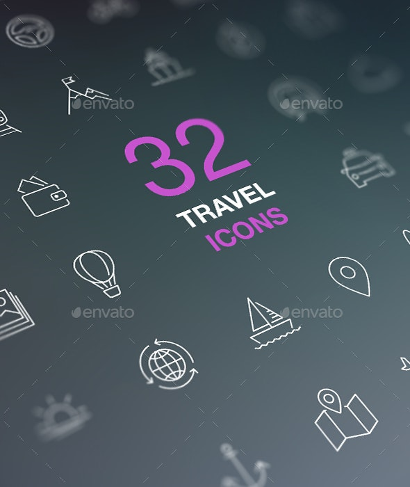 Travel Line Icons for Web and Mobile. White icons isolated on a dark background. - Miscellaneous Icons