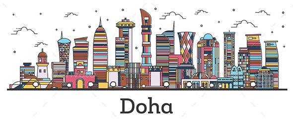Outline Doha Qatar City Skyline with Color Buildings Isolated on White - Buildings Objects