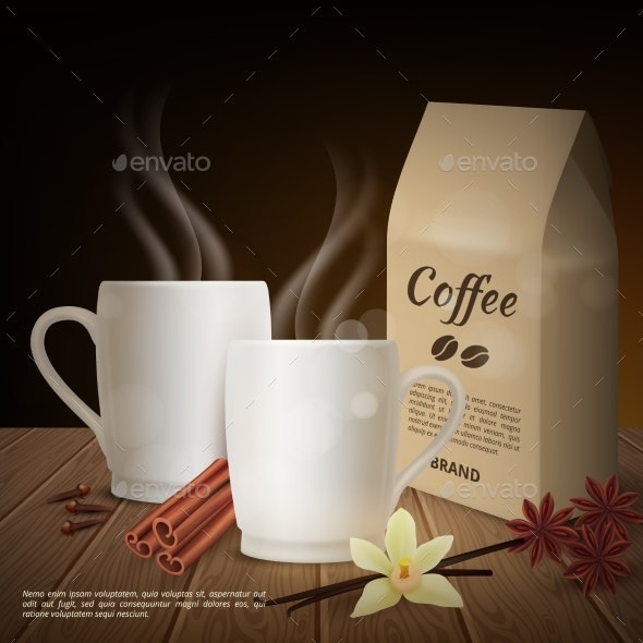 Vector Realistic Cup of Coffee and Toppings - Food Objects