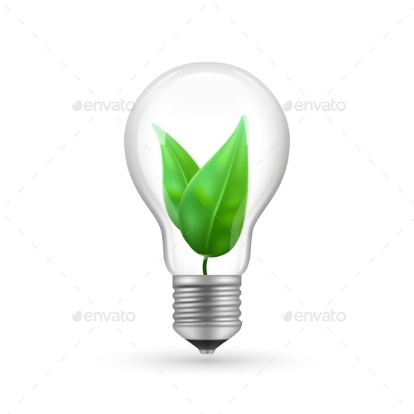 Realistic Eco Light Bulb Isolated on White - Miscellaneous Vectors