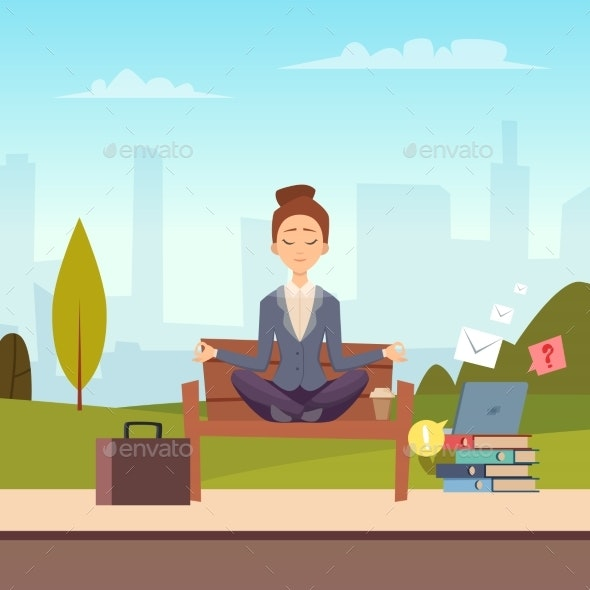 Businesswoman Meditation in the City Park Vector - People Characters