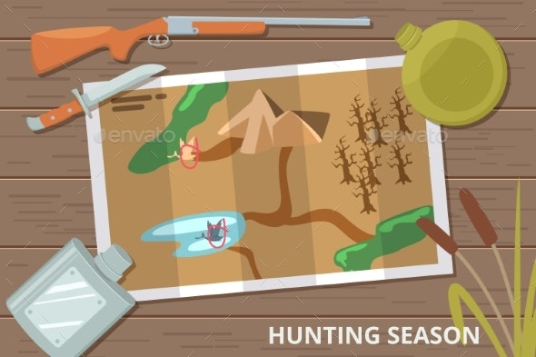 Hunting Season Vector Background with Map on Wood - Sports/Activity Conceptual