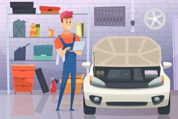 Mechanic in Garage - People Characters